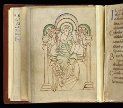 Miniature of St. Peter Enthroned, In 'Aelfwine's Prayerbook'